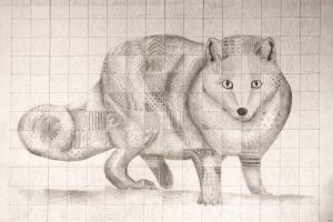 Arctic Fox - Chuck Close Style by MysticFeather