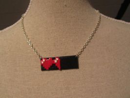 Pixel hearts - gamelife necklace by UndercoverKadaj