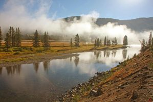 Misty Yellowstone River Valley by Kippenwolf