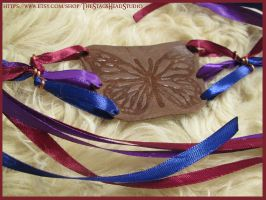 Leather Butterfly Armband with Ribbons and Copper by ImogenSmid