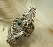 Gothic Winged Eye Ring by byrdldy