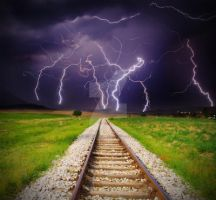 Lightning storm over railroad by VladimirLukovic