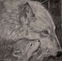 Wolf and baby by oxalysa