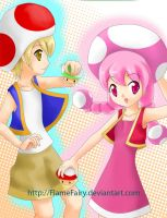 Toad and Toadette by FlameFairy
