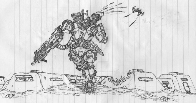 Fleeing Mecha WIP by chaos-sandwhich