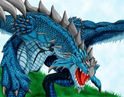 Azure Rathalos Roar by azemnaibaf