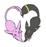Umbreon and Espeon heart by RavenheartSwansong