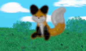 Animals - Fox - Sitting in the Grass by InvaderBlitzwing