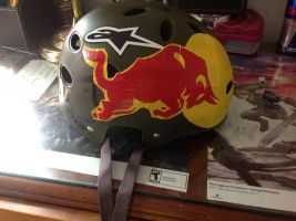 Red Bull Helmet Canvas by Brutechieftan