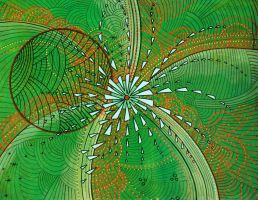 green explosion with circle by santosam81
