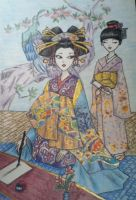 An Oiran and Her Kamuro by nehz11