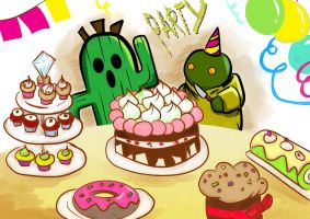 Cactuar and Tonbery  Sugar Banquet! by xxlPanda