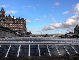 View from above the Railway Station. Edinburgh. Sc by jennystokes