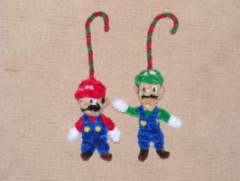 Mario and Luigi (Xmas ornaments) by fuzzyfigureguy