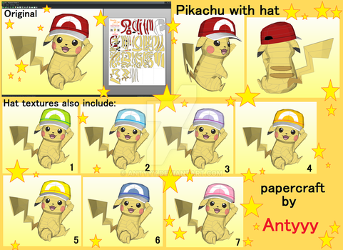 Pikachu with hat (lifesize) papercraft by Antyyy