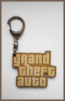 GRAND THEFT AUTO - wood keyring by Piciuu
