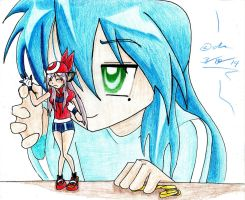 dressing up Kagami_Art Trade for Axel-DK64 by IZZY-CHAN13