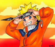Naruto at sunset by NorthernLytes