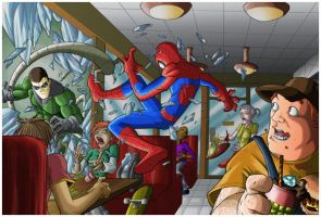 Ultimate Spiderman vs Doc Octopus by Leackim7891