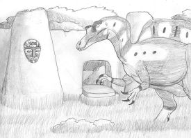 Spinosaurus and the Wall by DaBrandonSphere