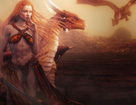Redhead Fantasy Girl Warrior with Dragons, 3D-Art by shibashake