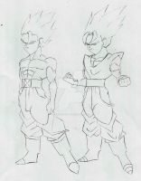 McClane Jr and Vegito Jr Sketch by DavidsKovach