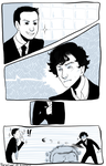 Tumblr req - Sherlock, Moriarty and John by Poralizer