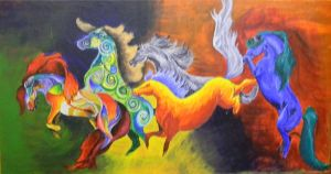 Abstract Horses by SweezaMuffin