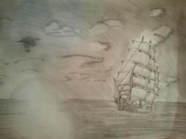 ship in sea by 1AngryCandy1