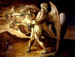 Jacob wrestling the angel by 21stCenturyDamocles