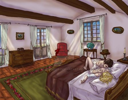 Lady Oscar - In bed in the house in Provance by SabreEfp