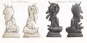 MLP Chess Set: Queen Pieces by EnigmaticElocution