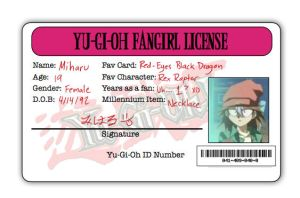 YGO Fangirl License by MiharuWatanabe