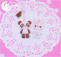 Chocopanda and Marshmallow bunny Necklace by CuteMoonbunny