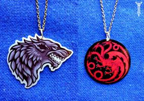 Stark and Targaryen sigil pendants by TrollGirl