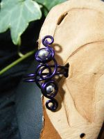 purple and silver bead ear cuff by BacktoEarthCreations