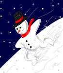 Snowman having fun by Rene-L