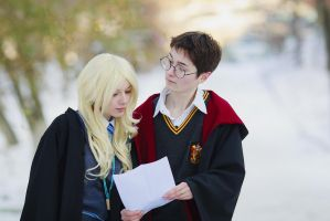 Luna Lovegood with Harry Potter by Hoteshi
