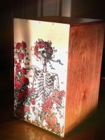 Cajon Drum- Skull and Roses by thepapierboy