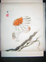 Owl in Flight with sumi-e by Iolii