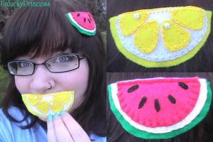 Slice of Fruit Hair Clips by UnluckyPrincess