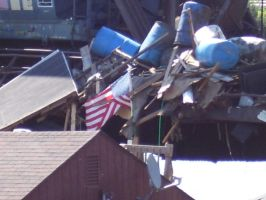 US Flag sitting on Houseboats by borgking001a