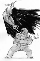 Batman vs. Mikey - BW by angryzenmaster