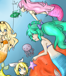 Colored Lineart- VOCALOID Mermaids by Born-Alive
