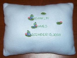 Frog Cross Stitch Baby Pillow by Joce-in-Stitches