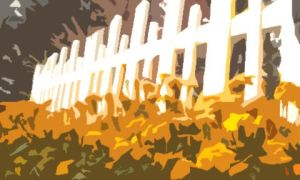 (Digital)Marigolds and White Picket Fence 10.20.14 by jebchina