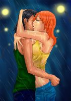 Kissing in the rain color by DE-Juanchi