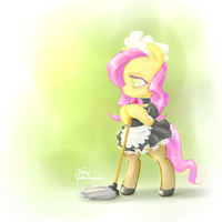 Maid Fluttershy by IFtheMaineCoon
