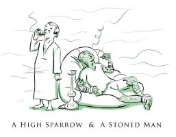 A High Sparrow and Stoned Man by Azad-Injejikian