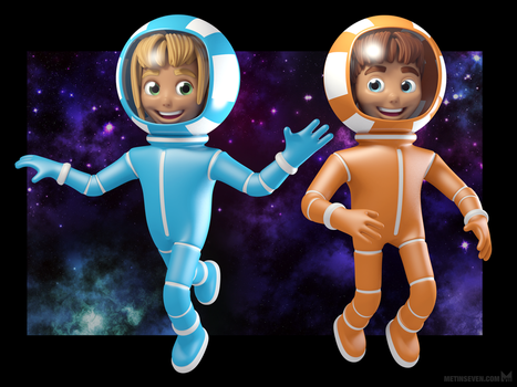 Spacegirl and Spaceboy character designs by m7